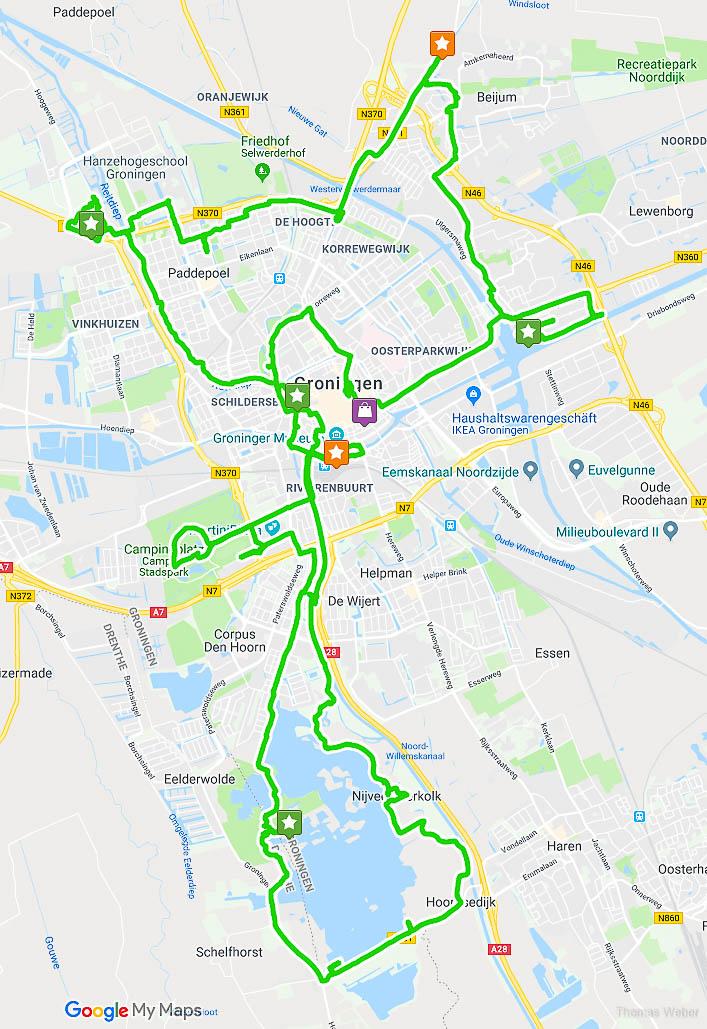Die Route der Fahrradtour durch Groningen, Fotograf Oldenburg, Thomas Weber
