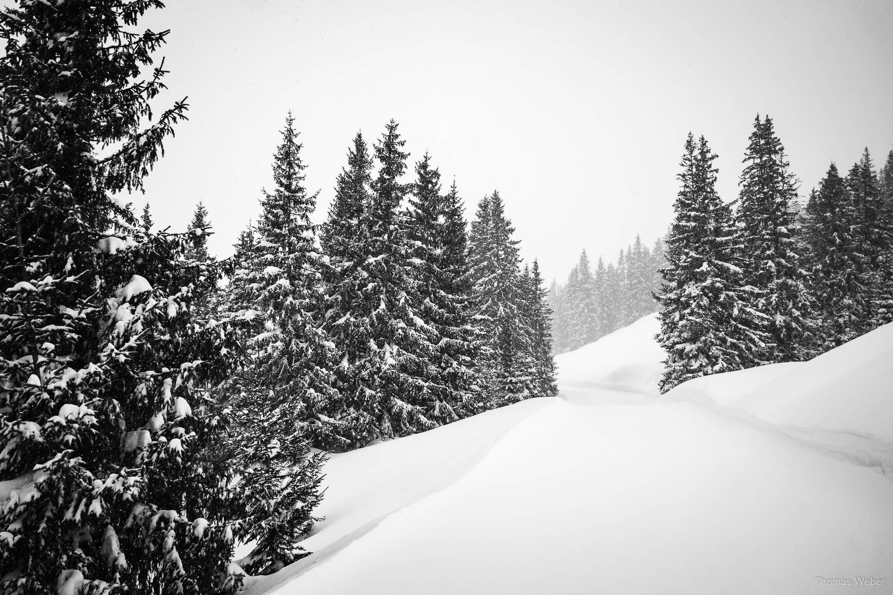 Schneefotos in den Bergen von Österreich